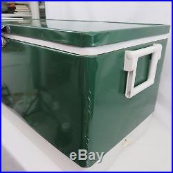 Vtg Coleman Green Metal Cooler 28 w Tray Ice Bin 1984 & Matching Metal Jug 1981