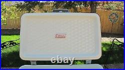 Vtg Coleman Snowlite Diamond Logo Green Metal Cooler White Trim & Tray 18x11x13
