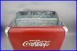 Vtg Drink Coca Cola Metal Cooler with Tray 1950's Progress Refrigerator Co