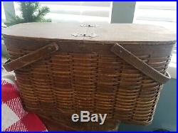 Vtg Hawkeye Cooler Wicker Basket Early Antique Wooden Metal Lined Picnic Tin Can