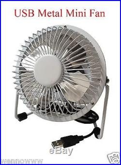 White Metal Shell Silver Tone Aluminum Blade Desktop Mini USB Fan Cooler DC 5V