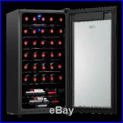 Wine Cooler Arctic King Premium 34 Bottle Touch Control LED Glass Fridge Black