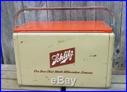 XLNT Vintage Mid Century Metal Schlitz Beer Picnic Cooler withHandle, Lid, Tray