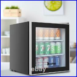 Zokop 60 Cans 1.6 Cu. Ft Compact Beverage Cooler Mini Fridge Glass Door Black